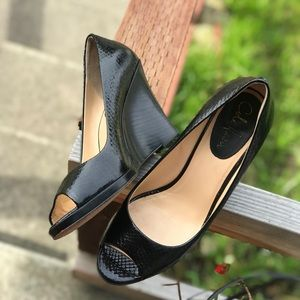 Cole Haan Black Patent Leather Peep Toe Wedges